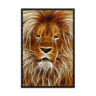 Wired Lion Safari Glossy Paper Print
