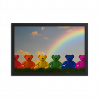 Teddy Bear Rainbow Kids Nursery Children's Paper Print Wall Decor
