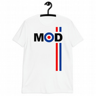 Mods  Ref White Blue Biker Unisex T Shirt