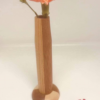 Handcrafted Mahogany and Ash Wood Bud Vase