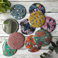 Pockets Mirrors with Wildlife Illustrations, Colourful Pocket Mirrors