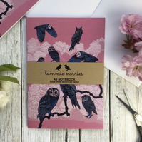 Owl Notebook - Recycled A5 Notebook - Illustrated Bird Notebook