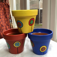 Hand painted TRIO of terracotta pots- A trio of abstract primary pots