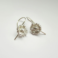 Fine Silver Daisy Drop Earrings - April Birth Flower Jewellery