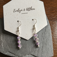Amethyst & Sterling Silver Dangly Earrings - Three Stone Gemstone Drop Earrings