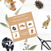 British Wildlife Animal Card Collection- blank for all occasions -