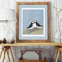 Puffin Art Print - Puffin love. -Seaside print
