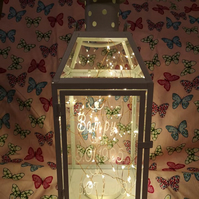 Personalised Vinyl or Acid Etched White Metal Lantern