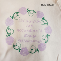 'Happy 1st Mothers Days Mommy' Long Sleeved Body Suit - Up to 1 Month