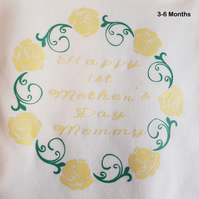 'Happy 1st Mothers Days Mommy' Long Sleeved Body Suit - 3-6 Months