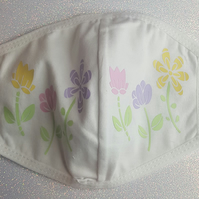 Lovely Decorative 100% Cotton Face Mask with Vinyl Flowers