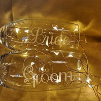 Bride & Groom Etched Champagne Glasses