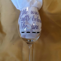 Adult Novelty Vinyl Decorated Wine Glass