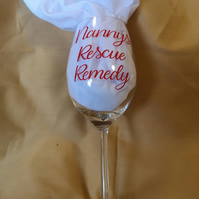 "Novelty Vinyl Decorated Wine Glass with ""Nannys Rescue Remedy"" Wording"
