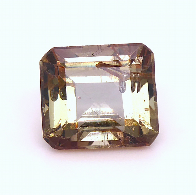 3.52 ct Andalusite - Green-Red Emerald Cut with interesting inclusions