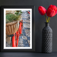 Red bicycle on cobbles 16x12