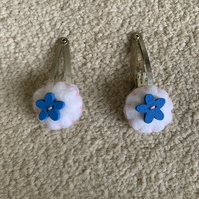 Blue and white hair clips