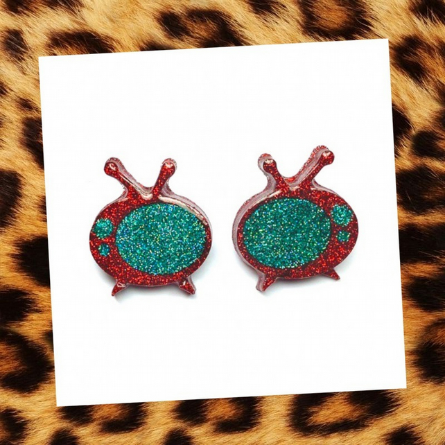 Glitter retro TV red and turquoise earrings - Pin up rockabilly