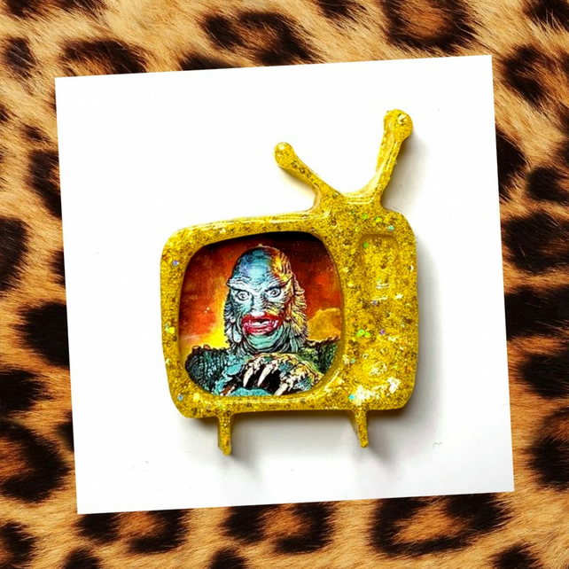 Creature of the Black Lagoon yellow rockabilly Retro TV glitter brooch