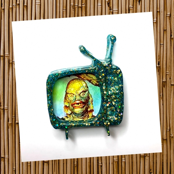 Creature of the Black Lagoon turquoise rockabilly Retro TV glitter brooch