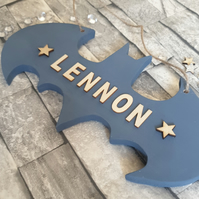 Personalised batman style door sign. Boys bedroom plaque