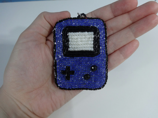 Glass beaded keyring games console blue retro design