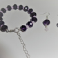 chunky glass beaded bracelet and earring jewellery set purple and pink