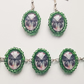 butterfly glass bracelet and earring set with green seed bead edge