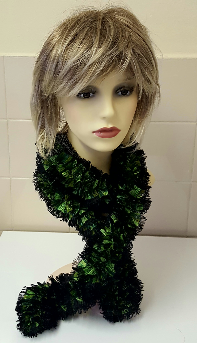 Handknitted Taffeta Scarf Dressy Green sparkle  and Black