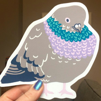 BIG PIGEON STICKER - bird decal, vinyl waterproof sticker, laptop sticker
