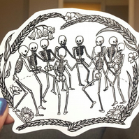 LARGE SKELETON STICKER - dancing mania, goth, vinyl decal, skull, illustration