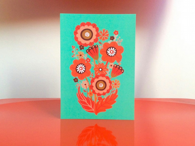 ORANGE FLOWERS CARD - Mother's Day card, Easter, Spring, summer floral, retro