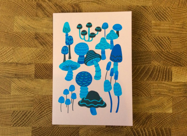 MUSHROOM CARD - illustration, birthday card, pink and blue, pastel, woodland