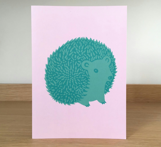 HEDGEHOG CARD - green and pink, birthday card, animal illustration, nature