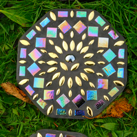 Garden Stepping Stone Iridescent mandala Golden Flower concrete Rainbow