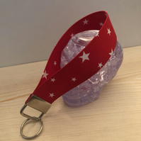 Star themed red or blue key ring key chain wristlet   Gift  choice of colour