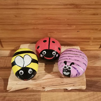 Extra large hand painted bug pebble, garden decoration, bee, ladybird, snail