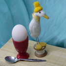 Needle felted white duck with yellow beret on a vintage cotton reel