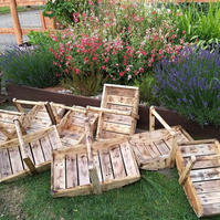 Handcrafted wooden gardening trug for gardeners from reclaimed wood 16x11x11