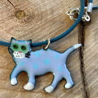 Blue spotty enamel copper cat pendant on blue leather cord with 925 silver clasp