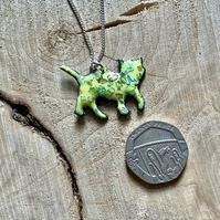 Yellow enamelled copper cat pendant on 925 silver curb chain