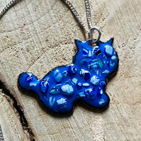 Blue enamelled copper cat pendant on 925 silver curb chain