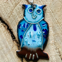 Blue enamelled copper owl pendant on 925 silver curb chain