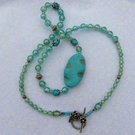 Turquoise Necklace with Glass Beads and Antique Silver