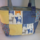 Cat Patchwork Hand Bag with Pockets