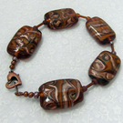 Lampwork Bead Bracelet in Golden Browns and Copper