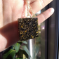 Black and Gold Glitter Resin Pendant