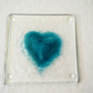 Heart shaped glass coaster