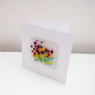 Floral glass panel greetings card