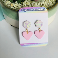 Pastel Marble Effect Polymer Clay Hexagon and Heart Earrings